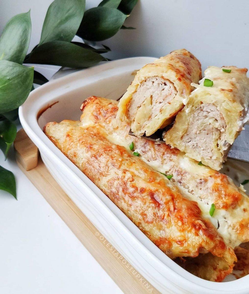 kartupeļu trubiņas ar maltās gaļas pildījumu
